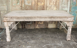 Antique Thakat Acacia Wood Dining Table with side carvings <b>SOLD<b>